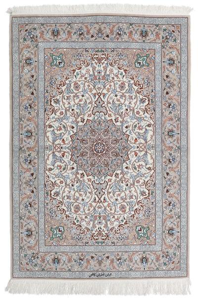 Isfahan Silkesvarp Matta 110X160 Äkta Orientalisk Handknuten Ljusgrå/Vit/Cremefärgad (Ull/Silke, Persien/Iran)