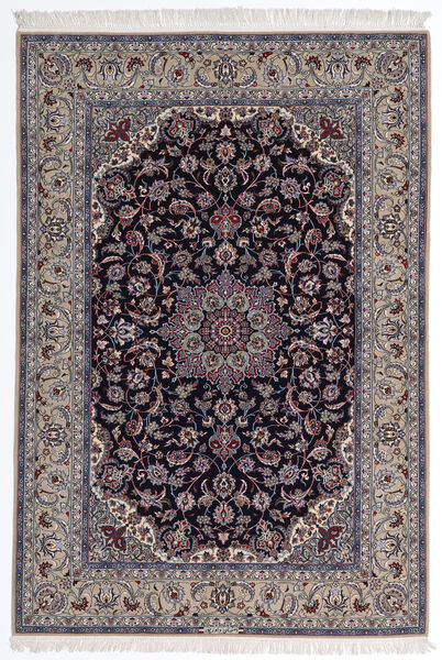 Isfahan Silkesvarp Matta 160X235 Äkta Orientalisk Handknuten Ljusgrå/Mörklila (Ull/Silke, Persien/Iran)