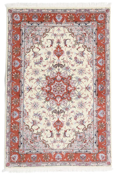 Tabriz 60 Raj Silkesvarp Matta 101X153 Äkta Orientalisk Handknuten Beige/Ljusgrå (Ull/Silke, Persien/Iran)