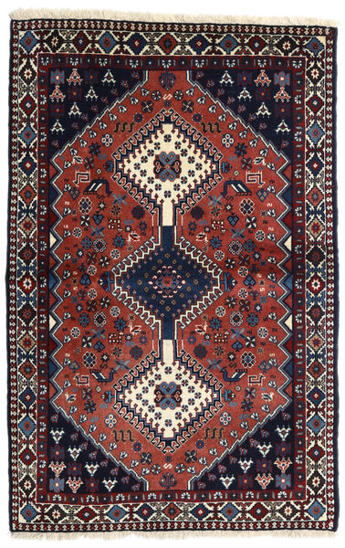 Yalameh Matta 102X156 Äkta Orientalisk Handknuten Mörklila/Mörkröd (Ull, Persien/Iran)