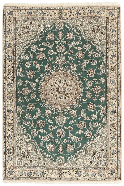 Nain 9La Matta 121X176 Äkta Orientalisk Handknuten Ljusgrå/Beige/Mörkgrön (Ull/Silke, Persien/Iran)