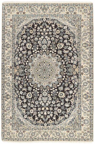 Nain 9La Matta 134X205 Äkta Orientalisk Handknuten Ljusgrå/Mörkgrå/Beige (Ull/Silke, Persien/Iran)