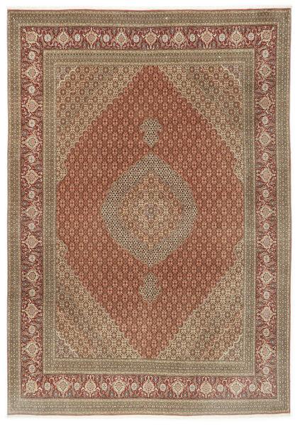 Tabriz 50 Raj Matta 250X355 Äkta Orientalisk Handknuten Brun/Ljusbrun Stor (Ull/Silke, Persien/Iran)