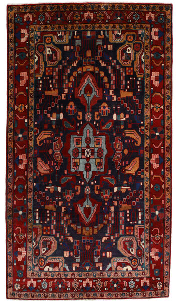 Nahavand Matta 142X255 Äkta Orientalisk Handknuten Mörkröd (Ull, Persien/Iran)