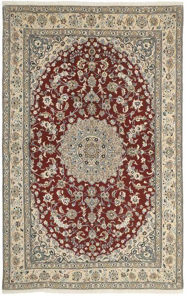 Nain 9La Matta 160X248 Äkta Orientalisk Handknuten Ljusgrå/Mörkröd (Ull/Silke, Persien/Iran)