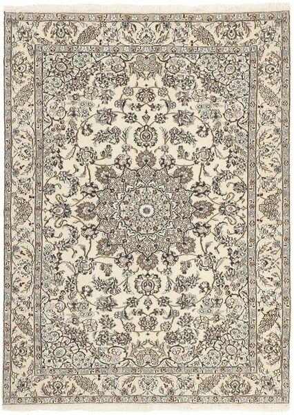 Nain 9La Matta 150X214 Äkta Orientalisk Handknuten Ljusgrå/Beige (Ull/Silke, Persien/Iran)