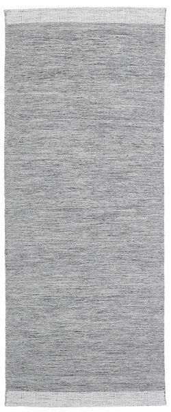 Serafina - Mörkgrå Melerad Matta 100X350 Äkta Modern Handvävd Hallmatta Ljusgrå (Ull, Indien)