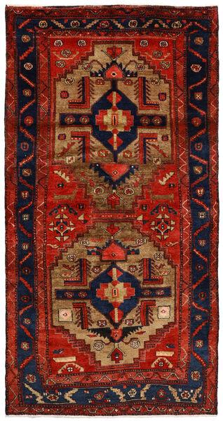 Nahavand Matta 125X246 Äkta Orientalisk Handknuten Roströd/Mörklila/Mörkbrun (Ull, Persien/Iran)