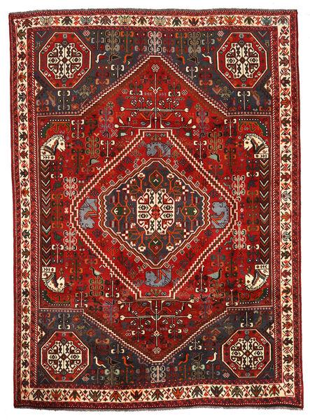 Shiraz Matta 198X274 Äkta Orientalisk Handknuten Mörkbrun/Mörkröd (Ull, Persien/Iran)