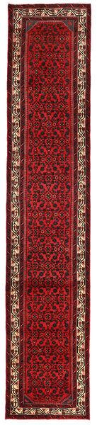 Hosseinabad Matta 82X413 Äkta Orientalisk Handknuten Hallmatta Mörkröd (Ull, Persien/Iran)