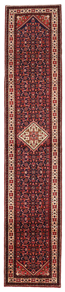 Mehraban Matta 86X422 Äkta Orientalisk Handknuten Hallmatta Mörkröd/Svart (Ull, Persien/Iran)