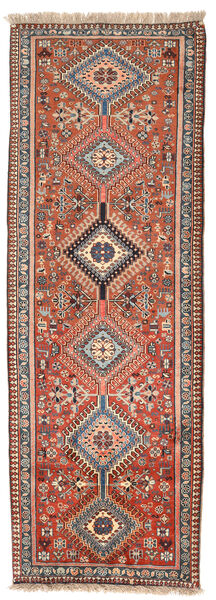 Yalameh Matta 75X260 Äkta Orientalisk Handknuten Hallmatta Mörkröd/Ljusgrå (Ull, Persien/Iran)