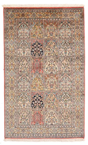 Kashmir Äkta Silke Matta 93X152 Äkta Orientalisk Handknuten Mörkbrun/Ljusgrå (Silke, Indien)