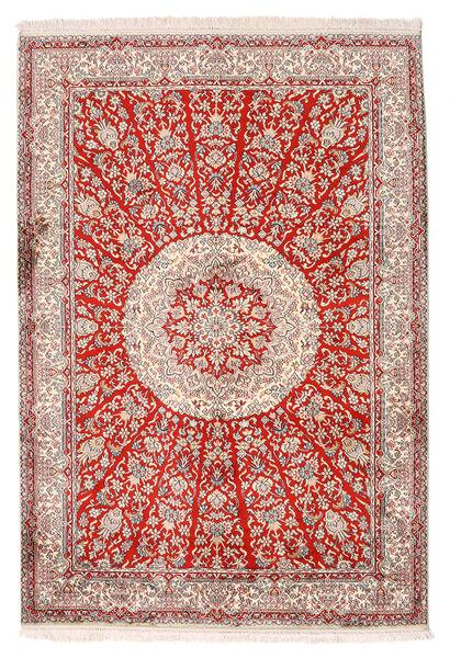 Kashmir Äkta Silke Matta 129X188 Äkta Orientalisk Handknuten Ljusgrå/Beige (Silke, Indien)