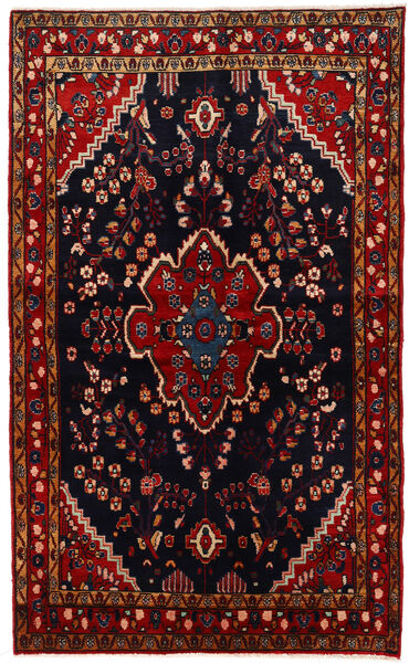 Nahavand Matta 134X221 Äkta Orientalisk Handknuten Mörkbrun/Mörkröd (Ull, Persien/Iran)