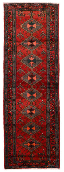 Hamadan Matta 104X315 Äkta Orientalisk Handknuten Hallmatta Mörkröd/Mörkbrun/Roströd (Ull, Persien/Iran)