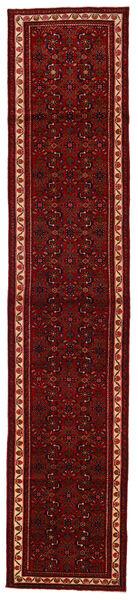 Hosseinabad Matta 82X400 Äkta Orientalisk Handknuten Hallmatta Mörkröd/Mörkbrun (Ull, Persien/Iran)
