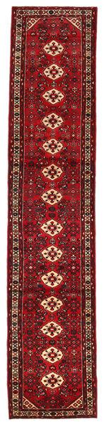 Hosseinabad Matta 84X400 Äkta Orientalisk Handknuten Hallmatta Mörkröd (Ull, Persien/Iran)