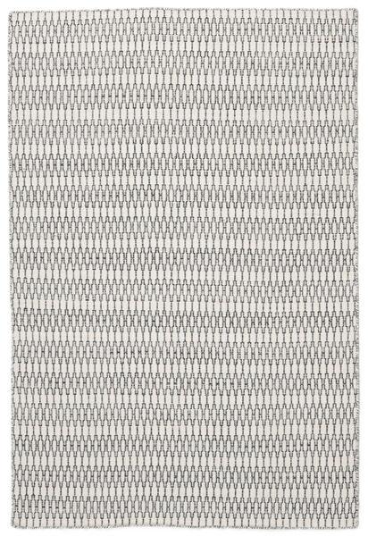 Kelim Long Stitch - Cream/Svart Matta 160X230 Äkta Modern Handvävd Ljusgrå/Beige (Ull, Indien)