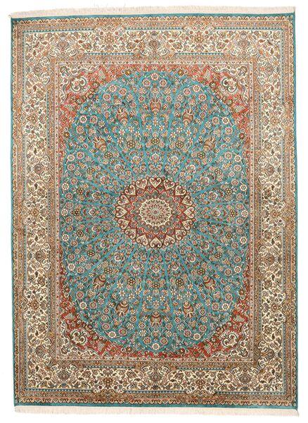 Kashmir Äkta Silke Matta 159X218 Äkta Orientalisk Handknuten Brun/Mörkgrå (Silke, Indien)
