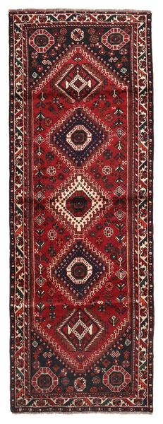 Shiraz Matta 91X245 Äkta Orientalisk Handknuten Hallmatta Mörkröd/Svart (Ull, Persien/Iran)