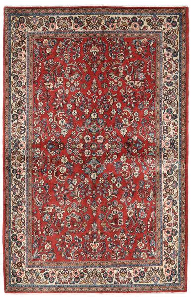 Sarough Matta 132X206 Äkta Orientalisk Handknuten Mörkröd/Mörkbrun (Ull, Persien/Iran)