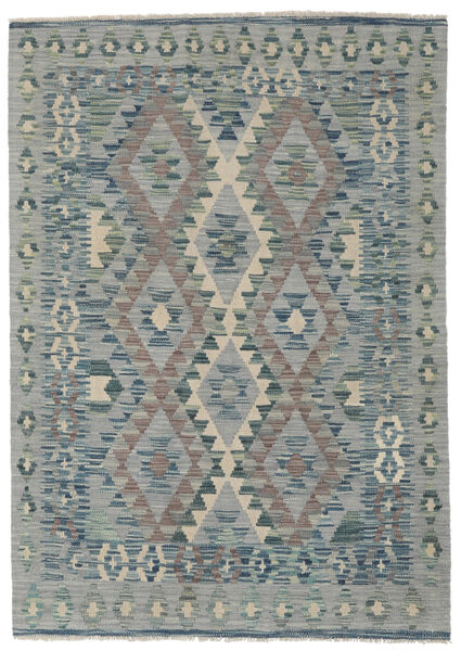 Kelim Afghan Old Style Matta 123X173 Äkta Orientalisk Handvävd Mörkgrå/Ljusgrön/Ljusgrå (Ull, Afghanistan)