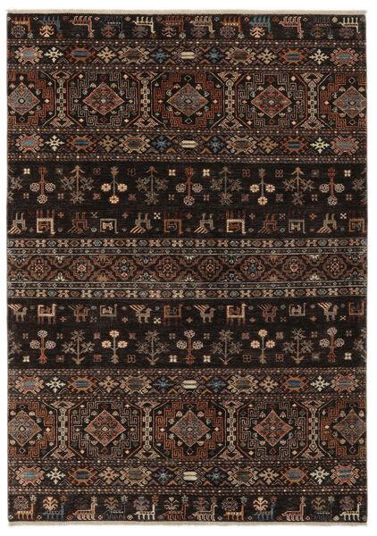 Shabargan Matta 179X252 Äkta Modern Handknuten Svart/Mörkbrun (Ull, Afghanistan)