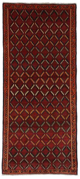Ghashghai Matta 101X235 Äkta Orientalisk Handknuten Hallmatta Svart/Mörkröd (Ull, Persien/Iran)