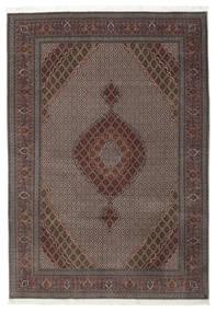 Tabriz 50 Raj Med Silke Matta 206X296 Äkta Orientalisk Handknuten Mörkbrun/Ljusbrun (Ull/Silke, Persien/Iran)