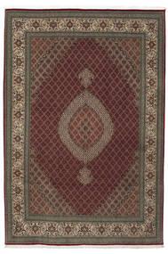 Tabriz 50 Raj Med Silke Matta 210X310 Äkta Orientalisk Handknuten Mörkröd/Ljusbrun (Ull/Silke, Persien/Iran)