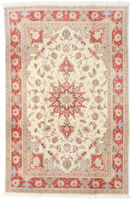 Tabriz 50 Raj Matta 190X293 Äkta Orientalisk Handknuten Beige/Ljusbrun (Ull/Silke, Persien/Iran)