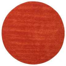 Handloom - Rost/Röd Matta Ø 200 Modern Rund Roströd (Ull, Indien)