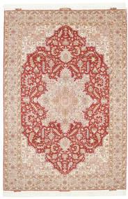 Tabriz 50 Raj Med Silke Matta 205X300 Äkta Orientalisk Handknuten Ljusbrun/Mörkbrun (Ull/Silke, Persien/Iran)