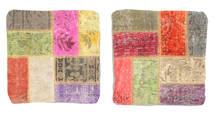 Patchwork Kuddfodral Matta 50X50 Äkta Orientalisk Handknuten Kvadratisk (Ull, Turkiet)