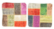Patchwork Kuddfodral Matta 50X50 Äkta Orientalisk Handknuten Kvadratisk Mörkbeige/Röd (Ull, Turkiet)