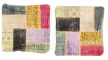Patchwork Kuddfodral Matta 50X50 Äkta Orientalisk Handknuten Kvadratisk Mörkgrå/Mörkbeige (Ull, Turkiet)