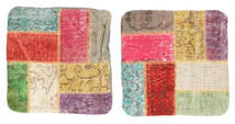 Patchwork Kuddfodral Matta 50X50 Äkta Orientalisk Handknuten Kvadratisk Mörkbeige/Ljusgrå (Ull, Turkiet)