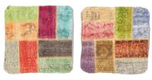 Patchwork Kuddfodral Matta 50X50 Äkta Orientalisk Handknuten Kvadratisk Mörkbeige/Brun (Ull, Turkiet)