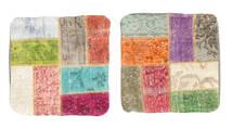 Patchwork Kuddfodral Matta 50X50 Äkta Orientalisk Handknuten Kvadratisk Ljusgrön/Beige (Ull, Turkiet)