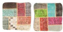 Patchwork Kuddfodral Matta 50X50 Äkta Orientalisk Handknuten Kvadratisk Mörkbrun/Ljusgrön (Ull, Turkiet)