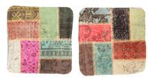 Patchwork Kuddfodral Matta 50X50 Äkta Orientalisk Handknuten Kvadratisk Mörkbrun/Ljusbrun (Ull, Turkiet)