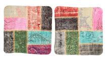 Patchwork Kuddfodral Matta 50X50 Äkta Orientalisk Handknuten Kvadratisk Mörkgrå/Beige (Ull, Turkiet)