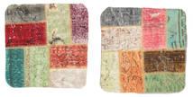 Patchwork Kuddfodral Matta 50X50 Äkta Orientalisk Handknuten Kvadratisk Vit/Cremefärgad/Mörkgrå (Ull, Turkiet)