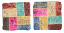 Patchwork Kuddfodral Matta 50X50 Äkta Orientalisk Handknuten Kvadratisk Beige/Ljusbrun (Ull, Turkiet)