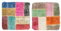 Patchwork Kuddfodral Matta 50X50 Äkta Orientalisk Handknuten Kvadratisk Beige/Roströd (Ull, Turkiet)