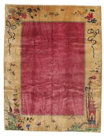 Kina Antik: Art Deco 1920 Matta 275X360 Äkta Orientalisk Handknuten Ljusbrun/Röd/Mörkröd Stor (Ull, Kina)