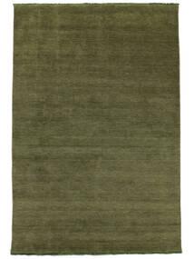 Handloom Fringes - Grön Matta 300X400 Modern Olivgrön Stor (Ull, Indien)