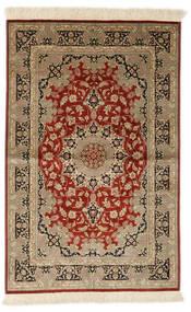 Ghom Silke Signerad: Ghom Ahmadi Matta 97X150 Äkta Orientalisk Handknuten Röd/Beige (Silke, Persien/Iran)