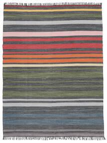 Rainbow Stripe - Grå Matta 250X300 Äkta Modern Handvävd Mörkgrå/Olivgrön Stor (Bomull, Indien)